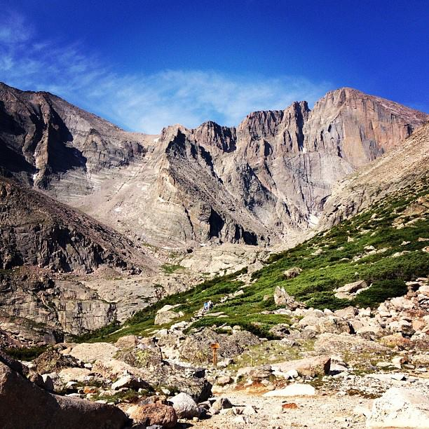 The view of Longs Peak as we approach Chasm Lake