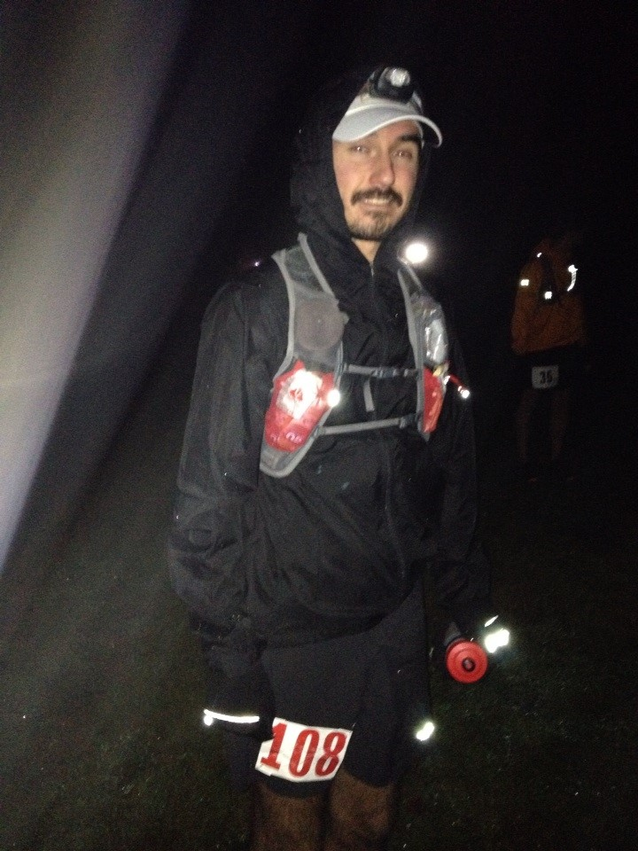 Starting Day 2 (50Mi) - a nice cold and wet morning. Knees and ankles were properly trashed from the 50k.