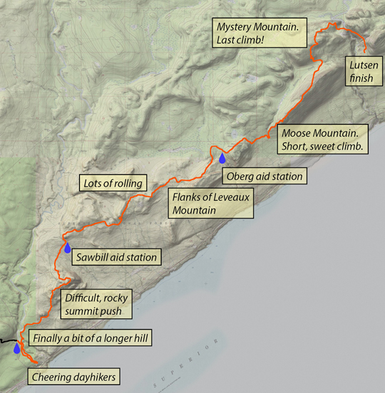 Annotated map for the final section: Temperance to Lutsen.