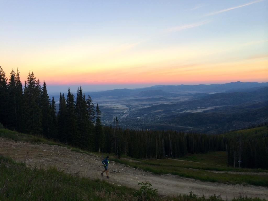 An amazing sunrise welcomed me on Mt Werner Rd,  already over the 100 miles mark and with about 5 miles  left to go, down on the valley. Photo credit: Silke  Koester