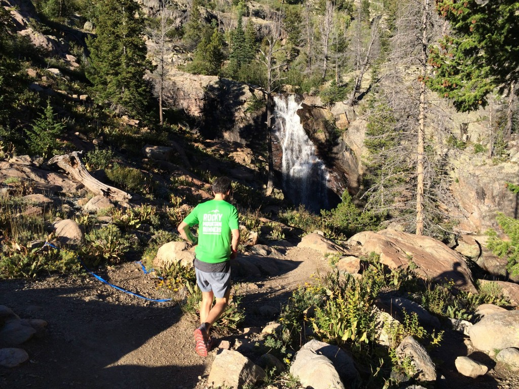 One of the many water falls on Fish Creek falls trail (not the actual big falls). The idea  of running close to that waterfall was so attracting (it was hot!) that I didn't see the  blue ribbon and went off route for a bit. Photo credit: Ryan Smith